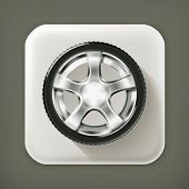 Car Wheel, long shadow vector icon