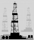 image of derrick  - Oil rigs silhouette - JPG