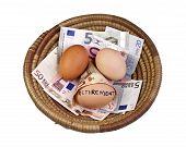 Постер, плакат: Корзина яйцо экономии концепции