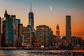 foto of moon silhouette  - Moon over Manhattan. New York City skyline