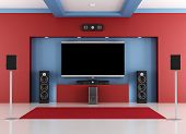 pic of home theater  - Red and blue home cinema room with led tv  - JPG