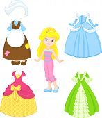 stock photo of baby doll  - Princess paper doll with clothes vector file - JPG