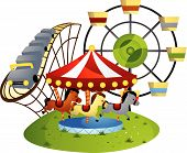 stock photo of merry-go-round  - Amusement Park Vector Illustration against white Background - JPG