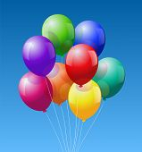 stock photo of school carnival  - A bunch of eight colorful realistic looking balloons  - JPG