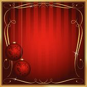 stock photo of christmas cards  - Ornate Red Christmas Card or Tag with Ornament and Copy Room - JPG