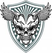stock photo of backround  - vector skull and wings with backround shield - JPG