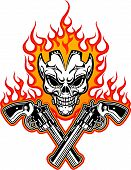 pic of outlaw  - skull with guns and flaming fire at background - JPG
