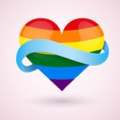image of transgendered  - LGBT Background rainbow heart and blue ribbon - JPG