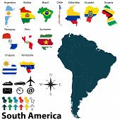 stock photo of south american flag  - Vector of political map of South America set with maps and flags on white background - JPG