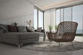 stock photo of oval  - A 3D rendering of modern living room - JPG