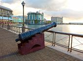 picture of mauritius  - Gun on the embankment Port - JPG