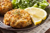 pic of cooked crab  - Organic Homemade Crab Cakes with Lemon and Tartar Sauce - JPG