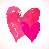 pic of two hearts  - Vector grunge card with hand painted hearts on white background - JPG