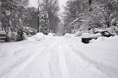 image of slippery-roads  - Blizzard in Washington DC area with road blocked - JPG