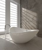 A 3D rendering of modern bathtub