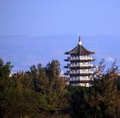 foto of octagon  - A large octagonal pagoda in traditional Chinese architecture in Taiwan - JPG