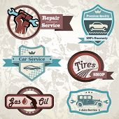 stock photo of gasoline station  - old retro car emblem collection of vintage vector labels - JPG