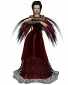 stock photo of cobweb  - Gothic style fairy with tattered red wings and a red dress with cobweb lace - JPG