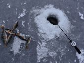 stock photo of nod  - Fish catch and fishing rod put into a pit on winter fishing - JPG