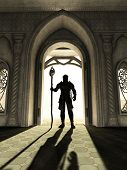 stock photo of sorcerer  - Dark Lord in skull armour standing silhouetted in a bright doorway - JPG