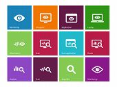 stock photo of observed  - Observation and Monitoring icons on color background - JPG