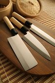 picture of taboo  - Photograph of kitchen knives on taboo - JPG