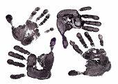 foto of dna fingerprinting  - Detail print of the black hand on white background - JPG