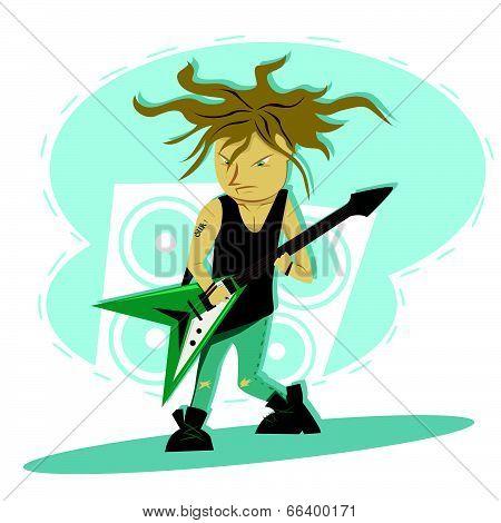 Hardcore guitar long hair player