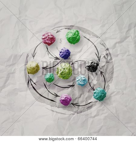 Colors Crumpled Paper As Social Network Structure On Wrinkled Paper Creative Concept