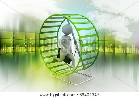 Man climbing the rotating wheel