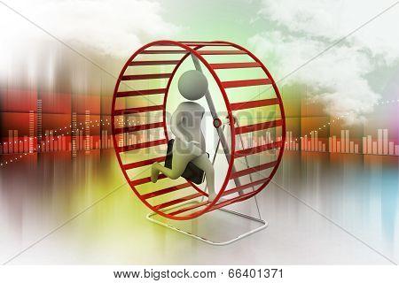 Man climbing the rotating wheel