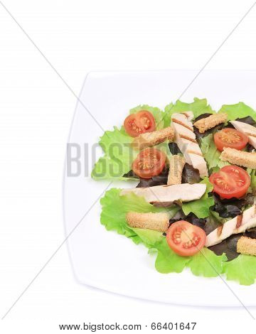 Ingredients of caesar salad on plate.