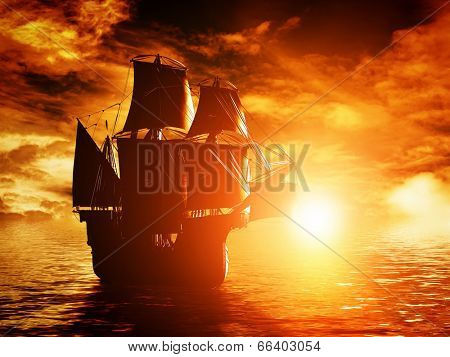 Ancient pirate ship sailing on the ocean at sunset. In full sail.