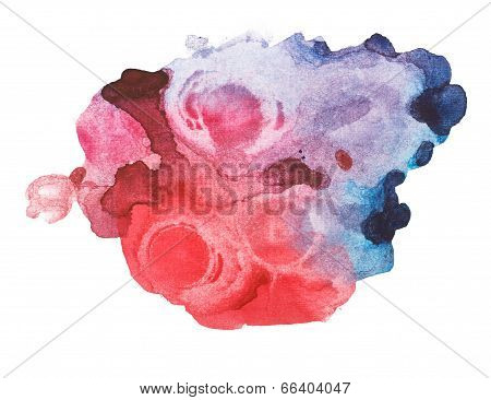 Abstract red blue watercolor, aquarelle art hand draw paint on white background