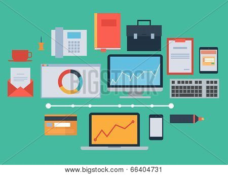 Flat design icon vector collection concept - business, finance and marketing elements, office things