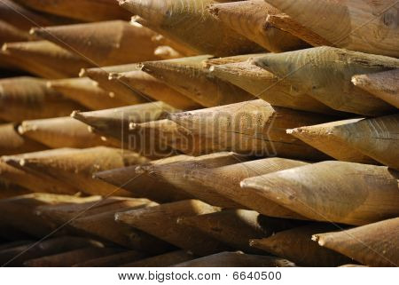 wooden stakes