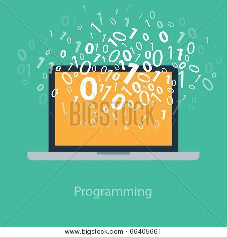 User programming coding binary code on notebook. Icon for web, blog, seo, social media, internet adv