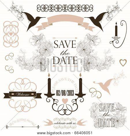 Vector wedding design elements.