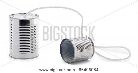Tin can telephone isolated on white background