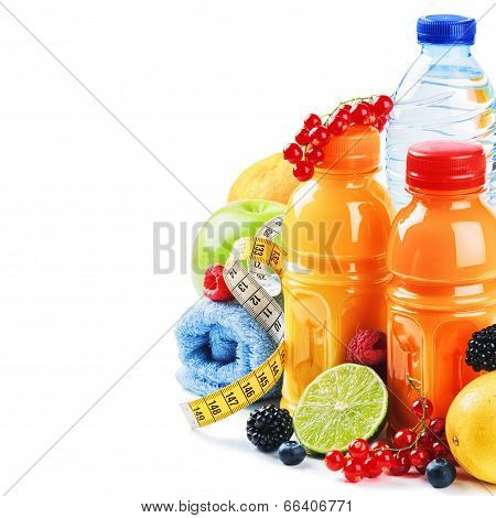 Healthy Lifestyle Concept. Fresh Fruits And Juices