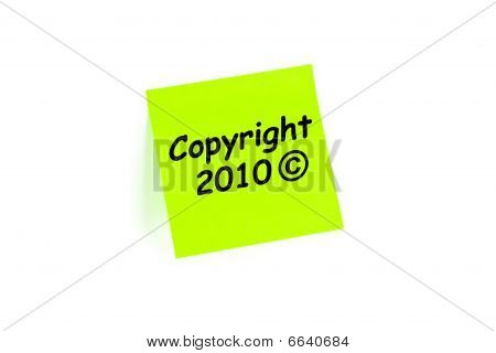 Copyright 2010 Note