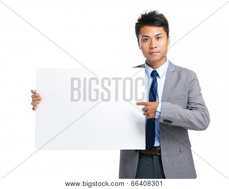 Business man hold with blank board