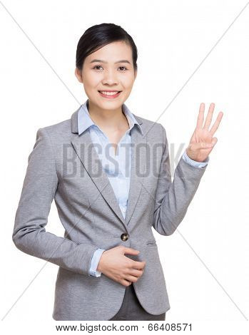 Business woman show three finger