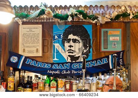 tribute to Maradona in typical bar, in Naples, Italy