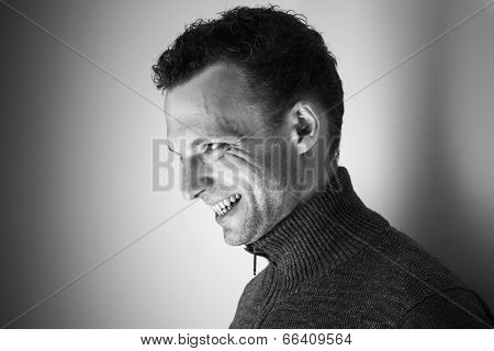 Angry Laughing Young Caucasian Man Black And White Portrait