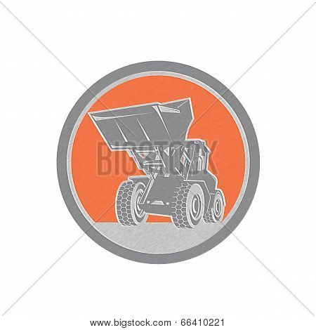 Metallic Front End Loader Digger Excavator Circle Retro