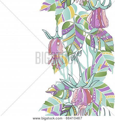 Seamless Vertical Pattern Amazing Flowers