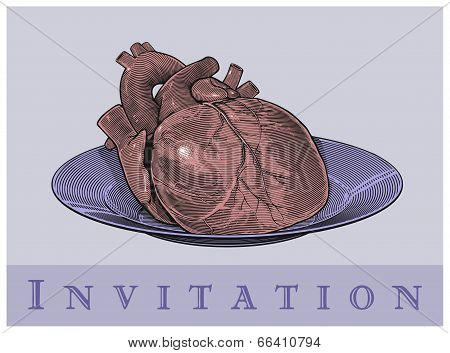 Heart on a plate (Invitation card)