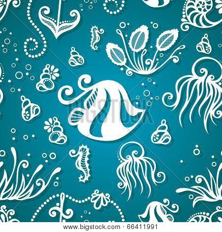 Vector Ornate Sea Seamless Pattern