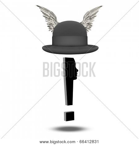 Exclamation mark face with winged bowler
